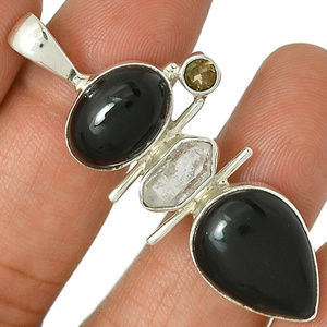 Black Onyx, Herkimer Diamond, Smokey Topaz pendant